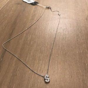 Nadri silver initial pendant necklace